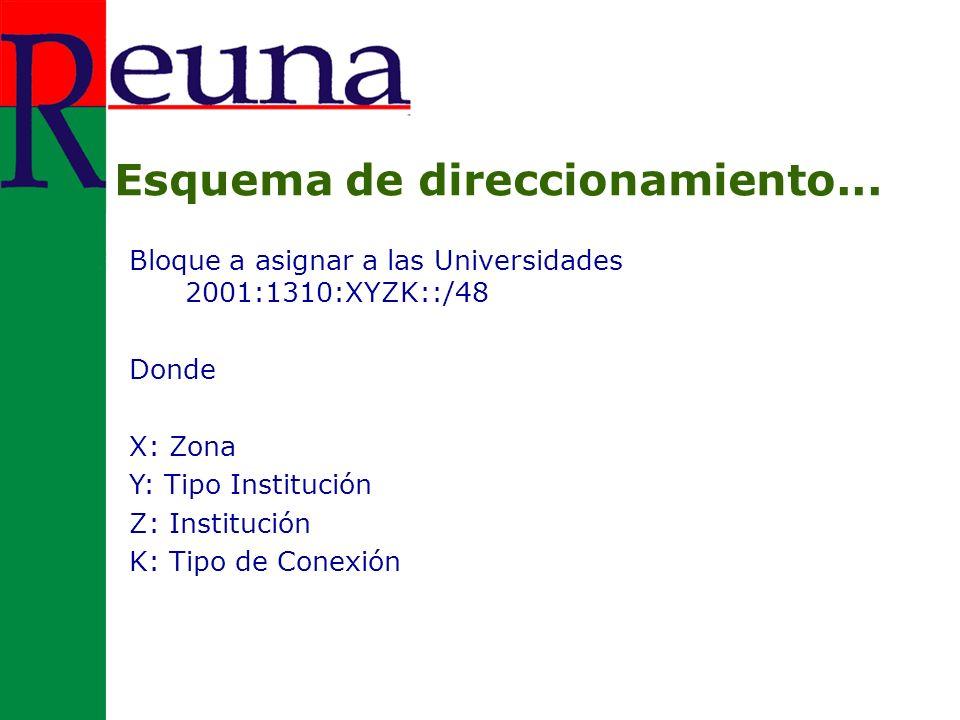 Bloque a asignar a las Universidades 2001:1310:XYZK::/48 Donde X: Zona Y: Tipo Institución Z: Institución K: Tipo de Conexión Esquema de direccionamiento...