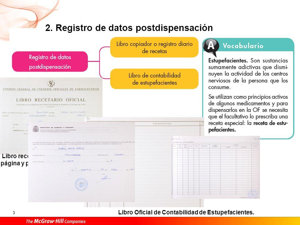 3 2. Registro de datos postdispensación Libro recetario: primera página y página sellada. Libro Oficial de Contabilidad de Estupefacientes.