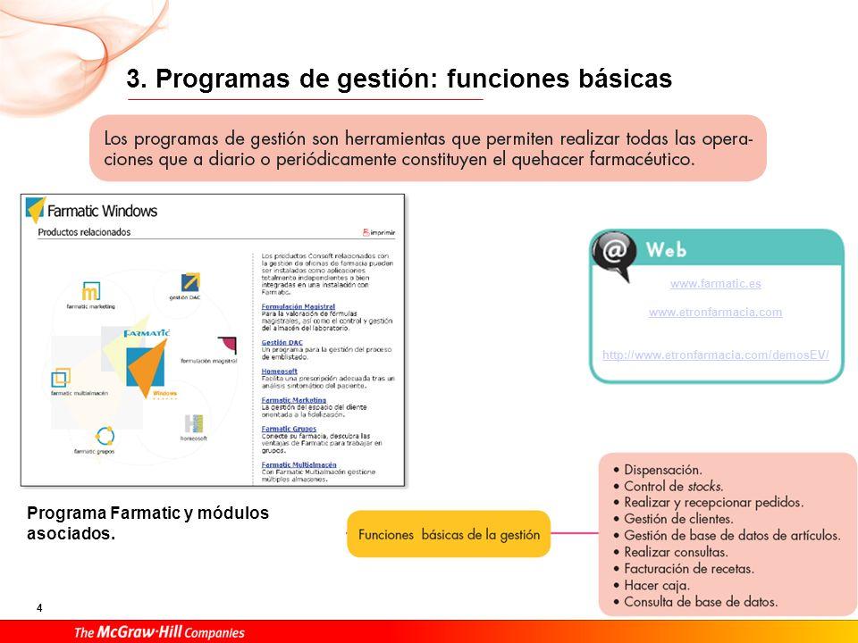 4 3. Programas de gestión: funciones básicas www.farmatic.es www.etronfarmacia.com http://www.etronfarmacia.com/demosEV/ Programa Farmatic y módulos a