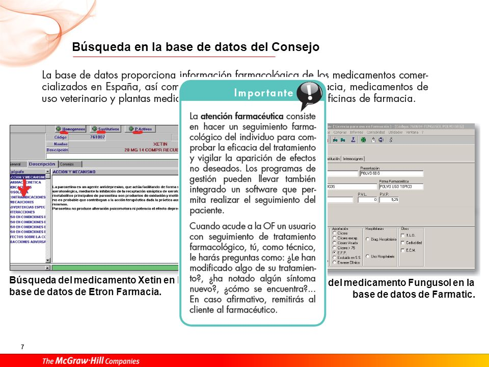 7 Búsqueda en la base de datos del Consejo Búsqueda del medicamento Xetin en la base de datos de Etron Farmacia. Búsqueda del medicamento Fungusol en