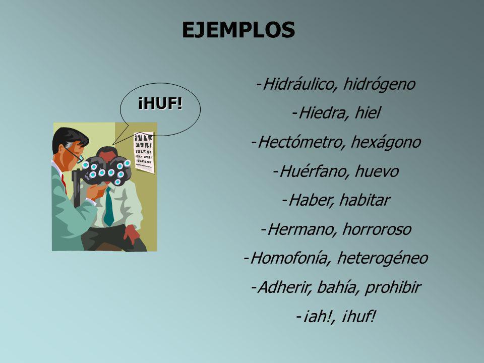 H SE ESCRIBE CON … - Los prefijos hiper-, hipo-.(hiperactivo,hipopota mo, - Todas las palabras que empiezan por los diptongos hie-, hue- (hueso,hielo)