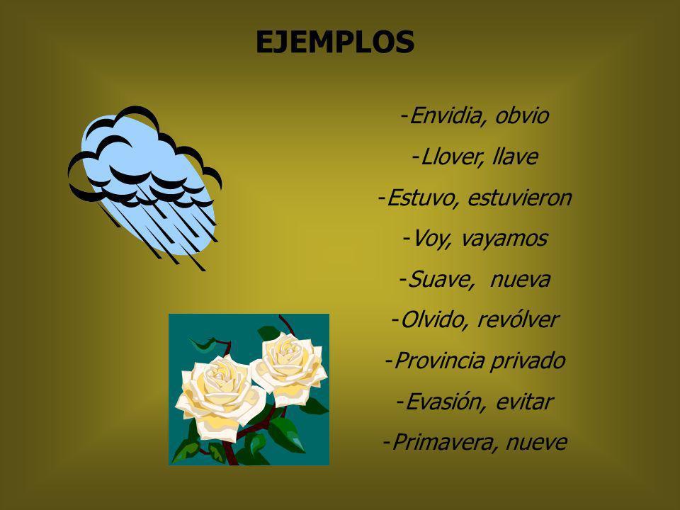 V SE ESCRIBE CON … -después de: B, D, N( envidia,obvio,advenedizo) - palabras que comiencen con LLA, LLE, LLO, LLU(llave,lluvia,llover,llevar) - conju