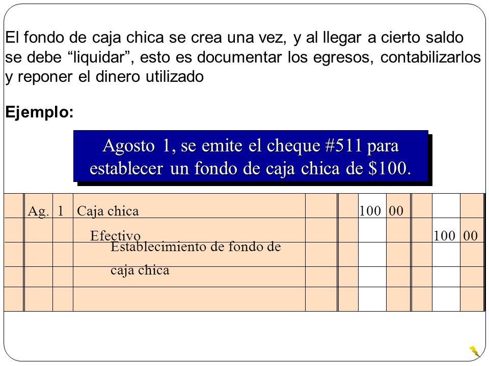 Ag. 1 Caja chica 100 00 Establecimiento de fondo de caja chica Efectivo 100 00 Agosto 1, se emite el cheque #511 para establecer un fondo de caja chic