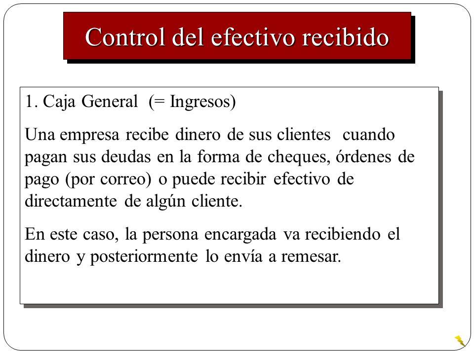 Control del efectivo recibido 1. Caja General (= Ingresos) Una empresa recibe dinero de sus clientes cuando pagan sus deudas en la forma de cheques, ó