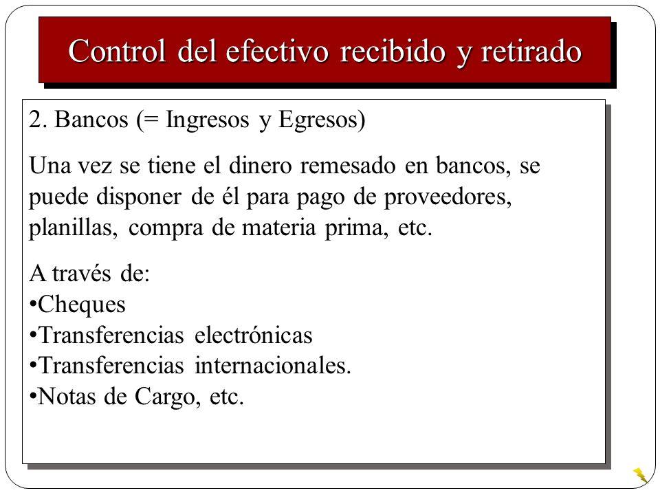 Control del efectivo retirado 3.