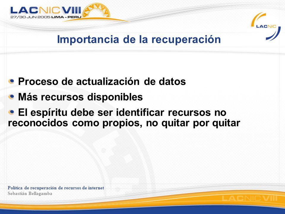 Política de recuperación de recursos de internet Sebastián Bellagamba Comentarios en la lista Separar el problema de actualización de datos y la recuperación de recursos, verlos como problemas distintos, con soluciones distintas.