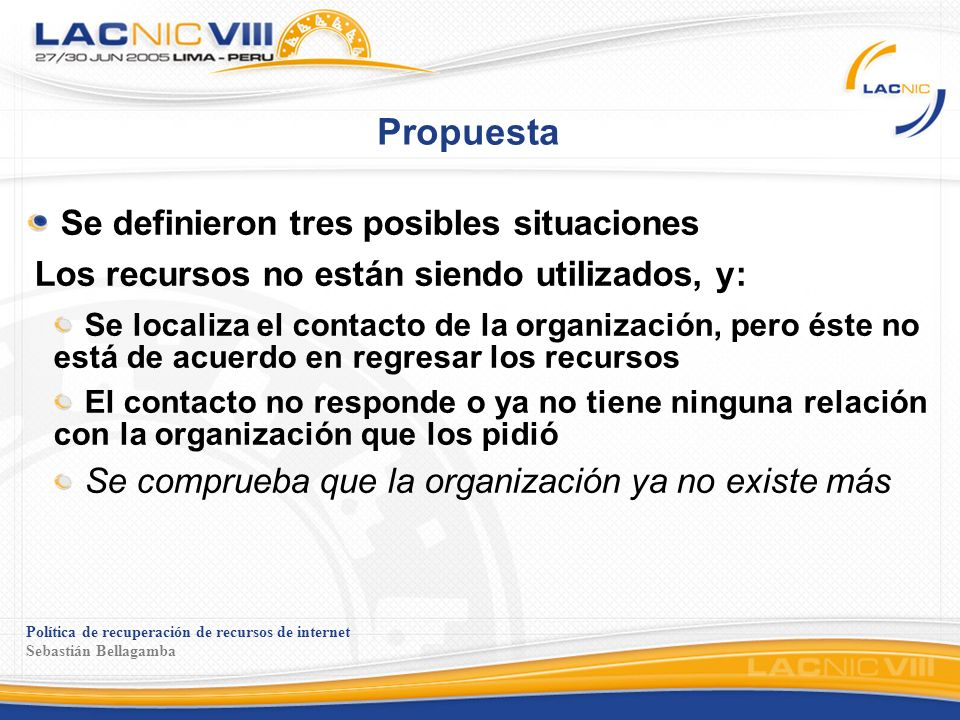 Política de recuperación de recursos de internet Sebastián Bellagamba Propuesta Se definieron tres posibles situaciones Los recursos no están siendo u