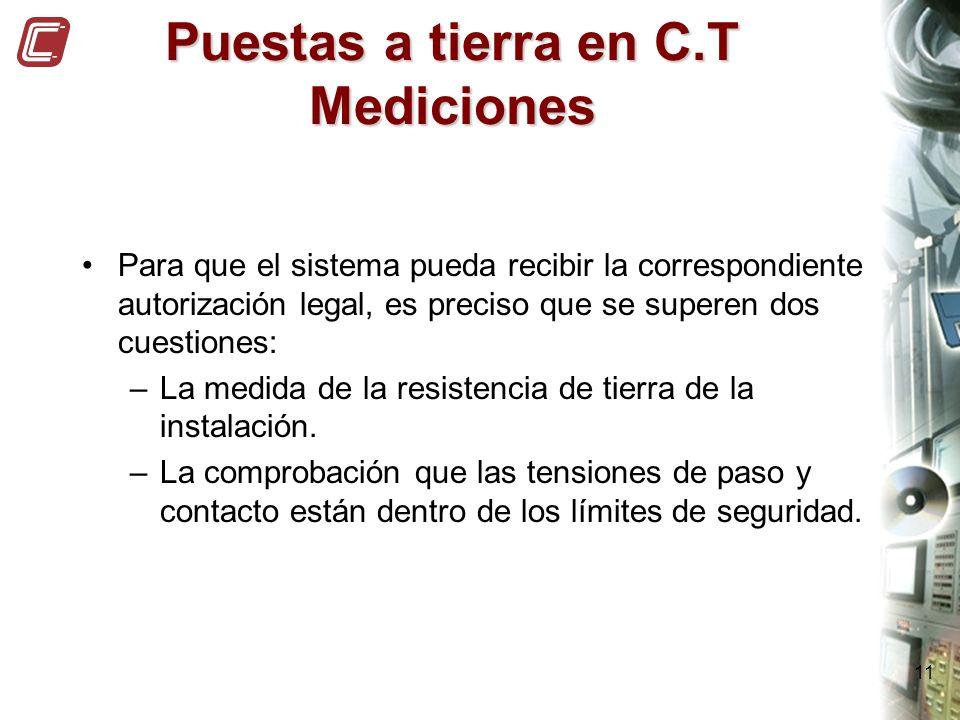 11 Puestas a tierra en C.T Mediciones Para que el sistema pueda recibir la correspondiente autorización legal, es preciso que se superen dos cuestione
