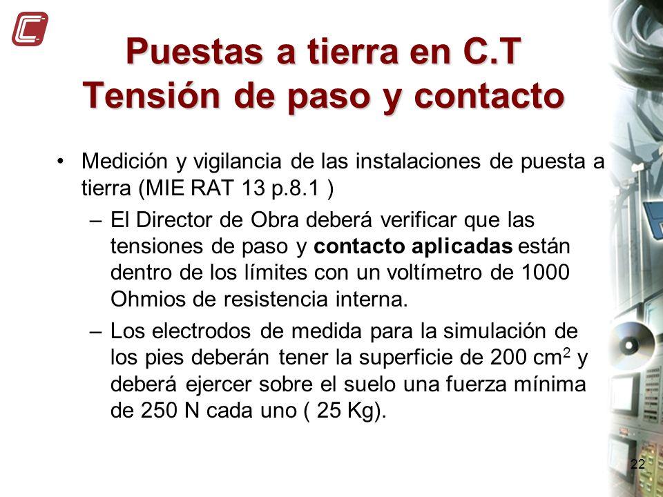 22 Puestas a tierra en C.T Tensión de paso y contacto Medición y vigilancia de las instalaciones de puesta a tierra (MIE RAT 13 p.8.1 ) –El Director d