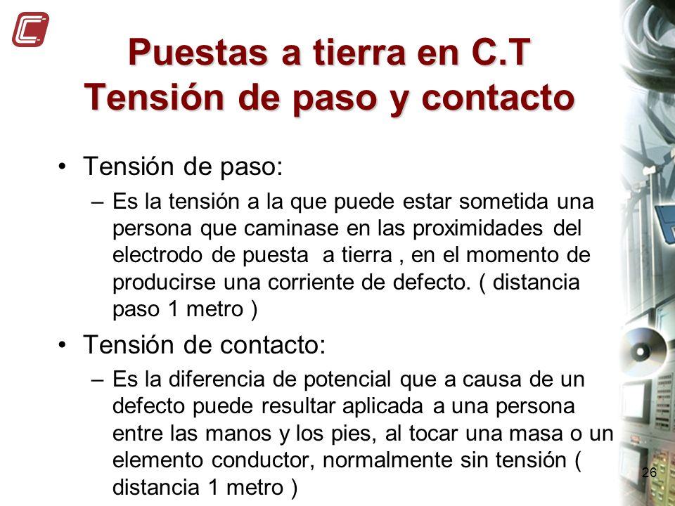 26 Puestas a tierra en C.T Tensión de paso y contacto Tensión de paso: –Es la tensión a la que puede estar sometida una persona que caminase en las pr
