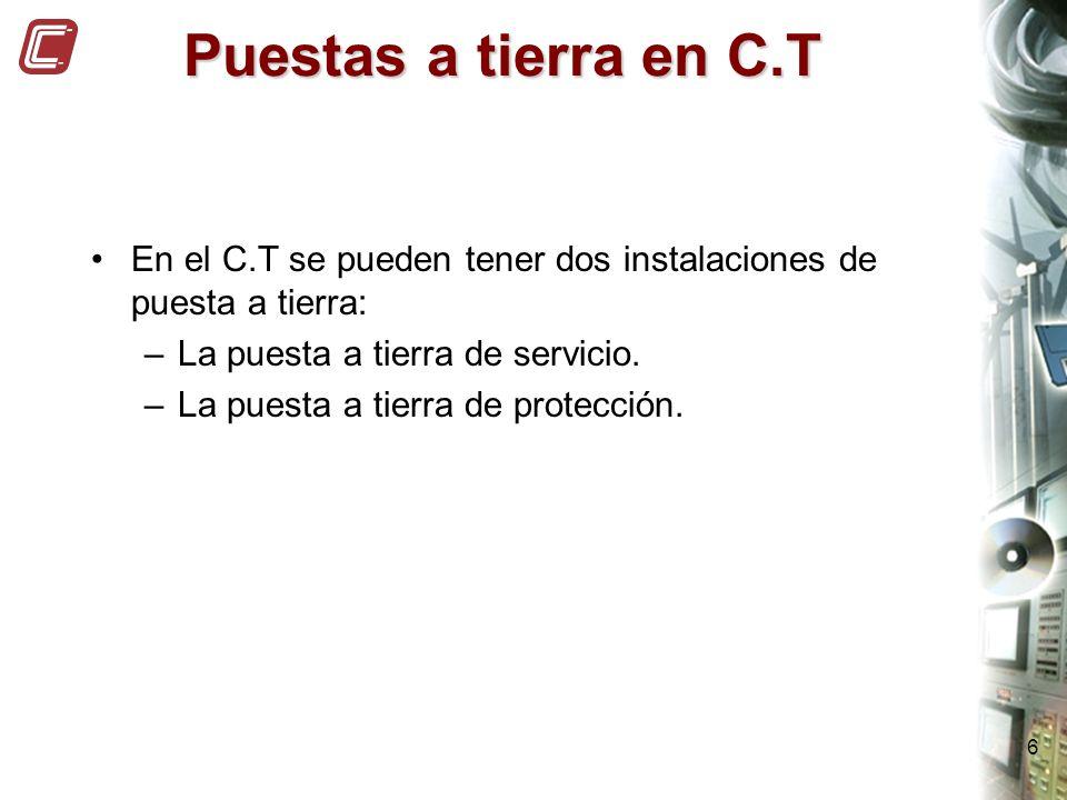 6 Puestas a tierra en C.T En el C.T se pueden tener dos instalaciones de puesta a tierra: –La puesta a tierra de servicio. –La puesta a tierra de prot