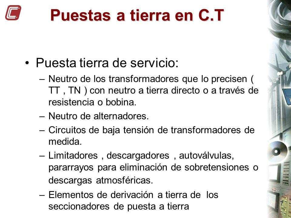 7 Puestas a tierra en C.T Puesta tierra de servicio: –Neutro de los transformadores que lo precisen ( TT, TN ) con neutro a tierra directo o a través