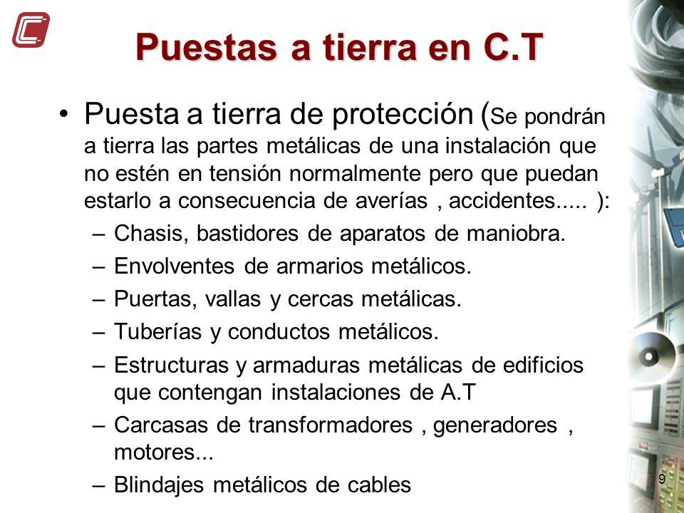 9 Puestas a tierra en C.T Puesta a tierra de protección ( Se pondrán a tierra las partes metálicas de una instalación que no estén en tensión normalme