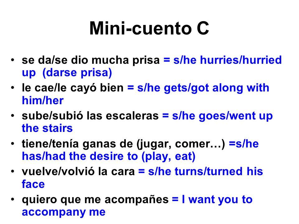 Mini-cuento C se da/se dio mucha prisa = s/he hurries/hurried up (darse prisa) le cae/le cayó bien = s/he gets/got along with him/her sube/subió las e
