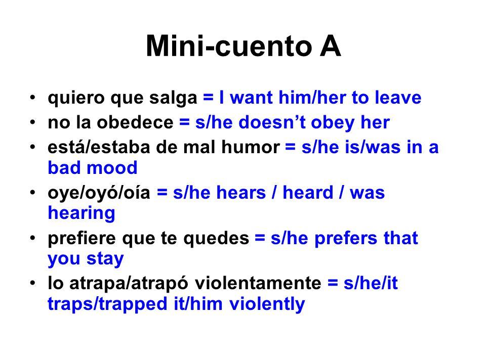 Mini-cuento A quiero que salga = I want him/her to leave no la obedece = s/he doesnt obey her está/estaba de mal humor = s/he is/was in a bad mood oye