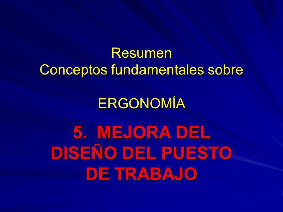 Resumen Conceptos fundamentales sobre ERGONOMÍA 5. MEJORA DEL DISEÑO DEL PUESTO DE TRABAJO