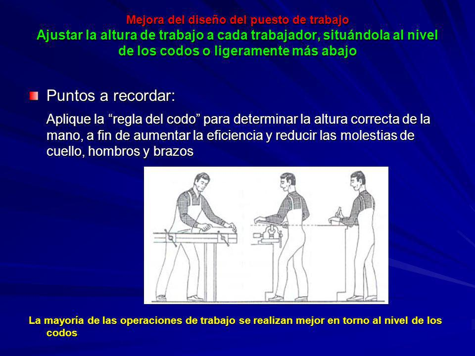 Mejora del diseño del puesto de trabajo Ajustar la altura de trabajo a cada trabajador, situándola al nivel de los codos o ligeramente más abajo Mejor