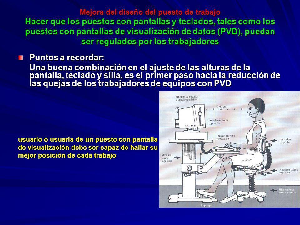 Mejora del diseño del puesto de trabajo Hacer que los puestos con pantallas y teclados, tales como los puestos con pantallas de visualización de datos