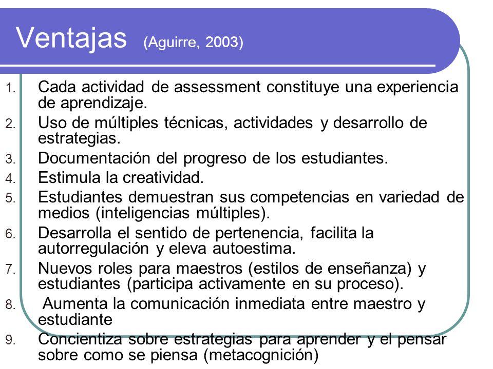 Ventajas (Aguirre, 2003) 1. Cada actividad de assessment constituye una experiencia de aprendizaje. 2. Uso de múltiples técnicas, actividades y desarr