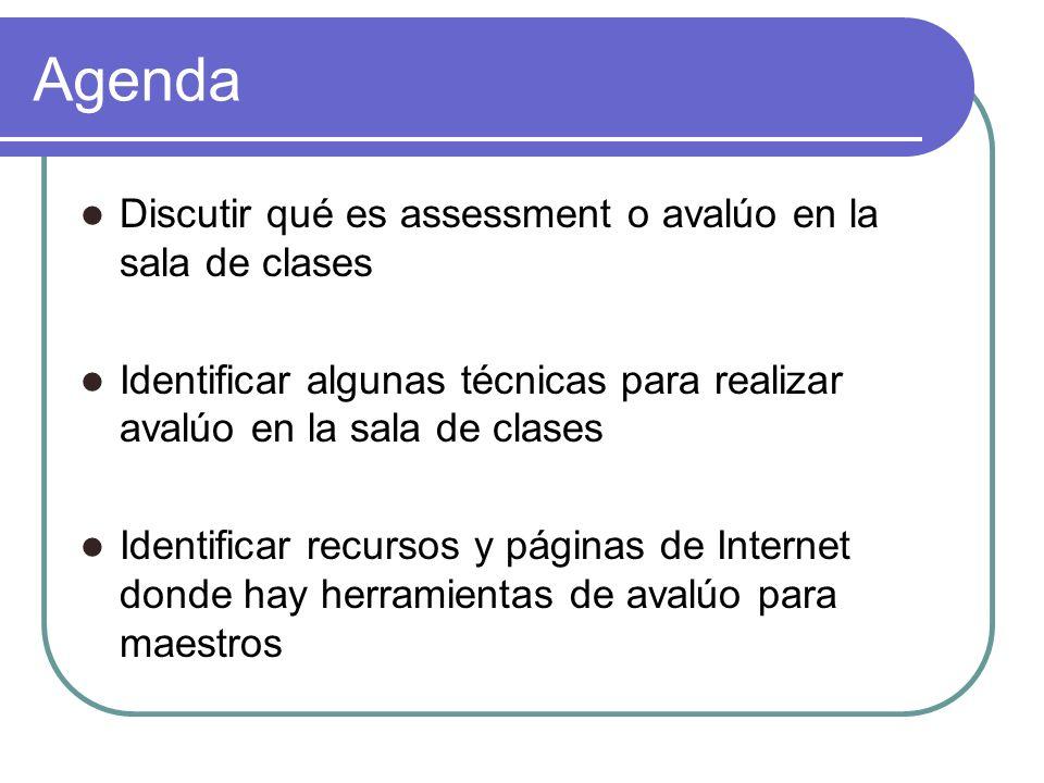 Agenda Discutir qué es assessment o avalúo en la sala de clases Identificar algunas técnicas para realizar avalúo en la sala de clases Identificar rec