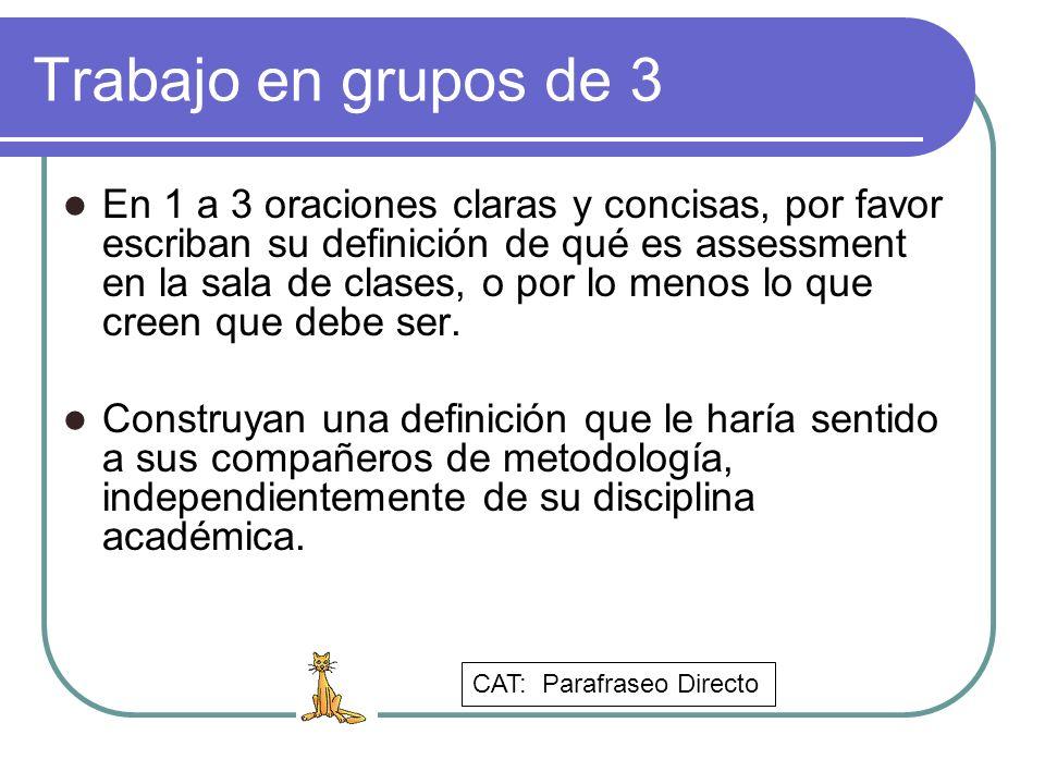 Trabajo en grupos de 3 En 1 a 3 oraciones claras y concisas, por favor escriban su definición de qué es assessment en la sala de clases, o por lo meno