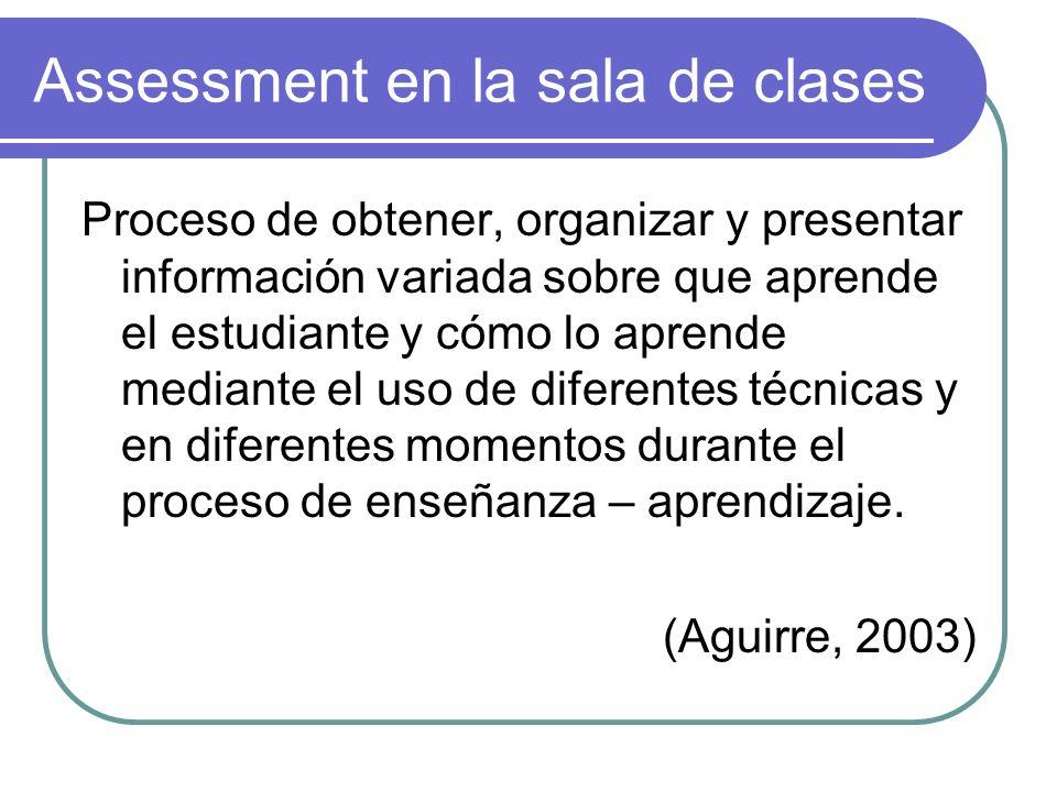 Assessment en la sala de clases Proceso de obtener, organizar y presentar información variada sobre que aprende el estudiante y cómo lo aprende median