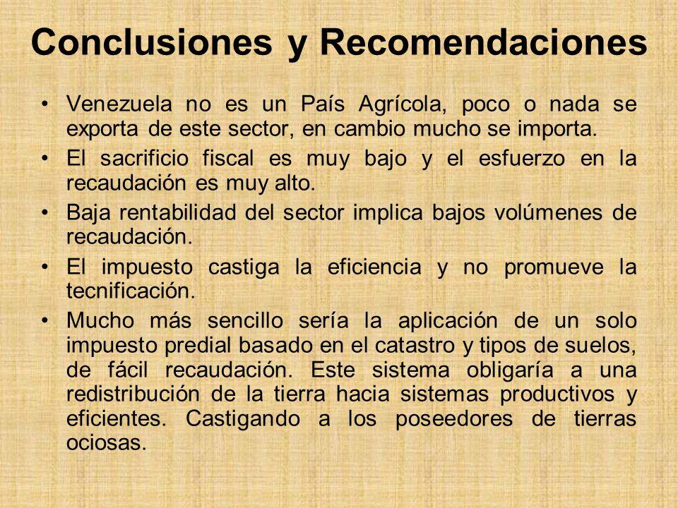 Conclusiones y Recomendaciones Venezuela no es un País Agrícola, poco o nada se exporta de este sector, en cambio mucho se importa. El sacrificio fisc
