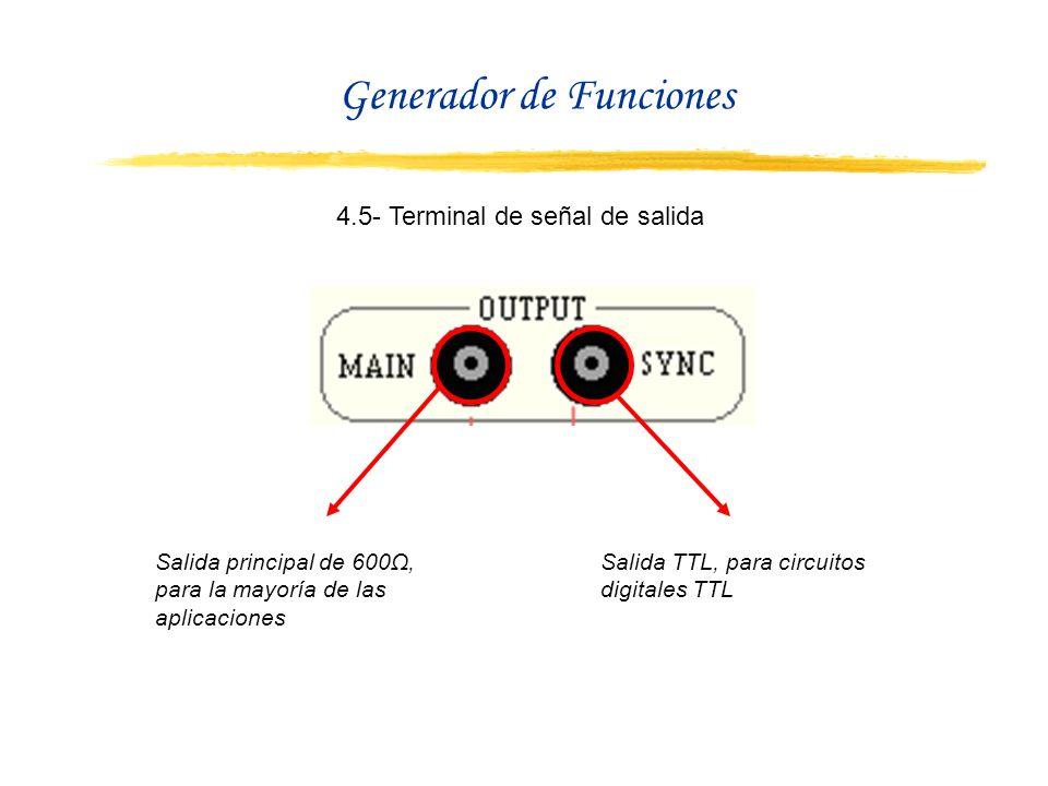 4.5- Terminal de señal de salida Salida principal de 600Ω, para la mayoría de las aplicaciones Salida TTL, para circuitos digitales TTL Generador de F