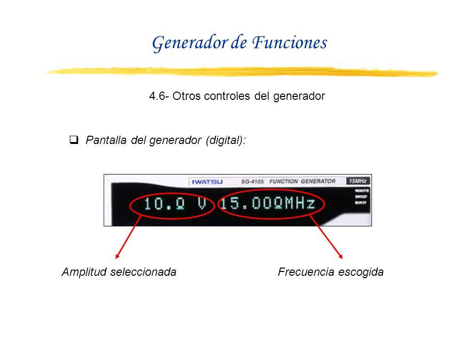 4.6- Otros controles del generador Pantalla del generador (digital): Amplitud seleccionadaFrecuencia escogida Generador de Funciones