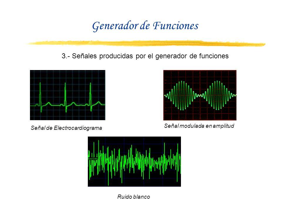3.- Señales producidas por el generador de funciones Señal de Electrocardiograma Señal modulada en amplitud Ruido blanco Generador de Funciones
