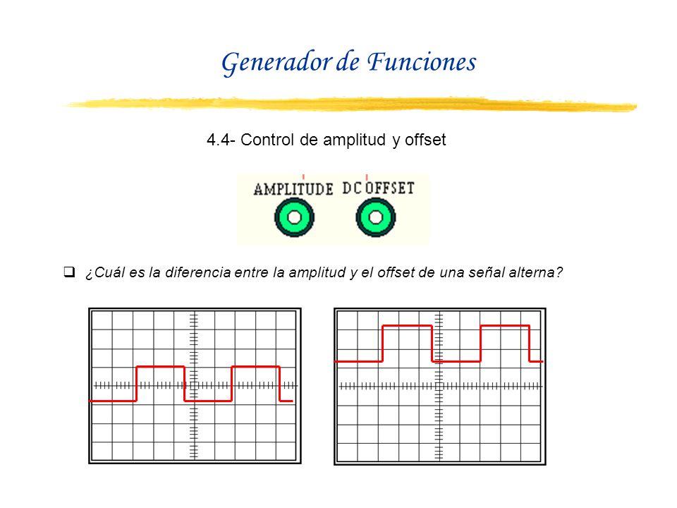 4.4- Control de amplitud y offset ¿Cuál es la diferencia entre la amplitud y el offset de una señal alterna? Generador de Funciones