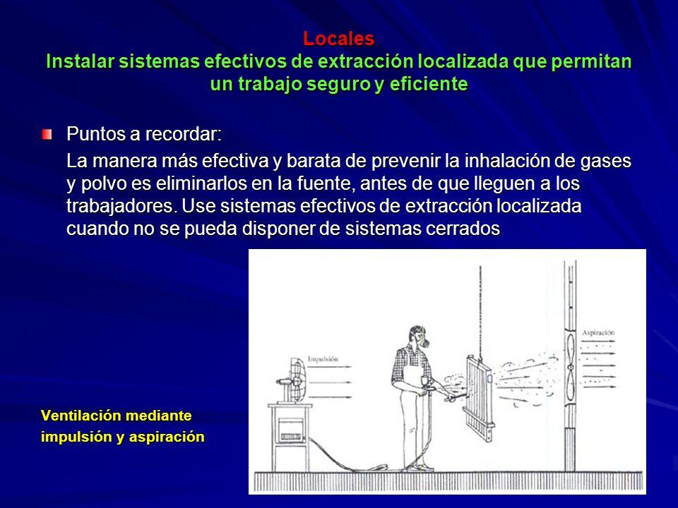 Locales Instalar sistemas efectivos de extracción localizada que permitan un trabajo seguro y eficiente Locales Instalar sistemas efectivos de extracc