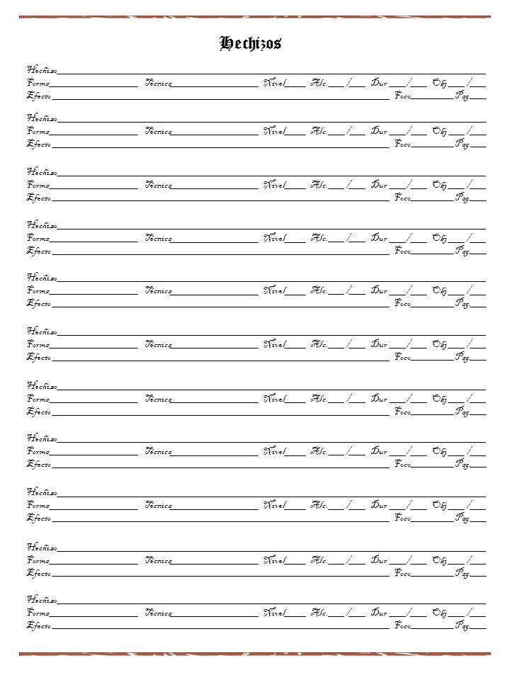 Hechizos Hechizo Forma Técnica Nivel Alc. / Dur / Obj / Efecto Foco Pag. Hechizo Forma Técnica Nivel Alc. / Dur / Obj / Efecto Foco Pag. Hechizo Forma