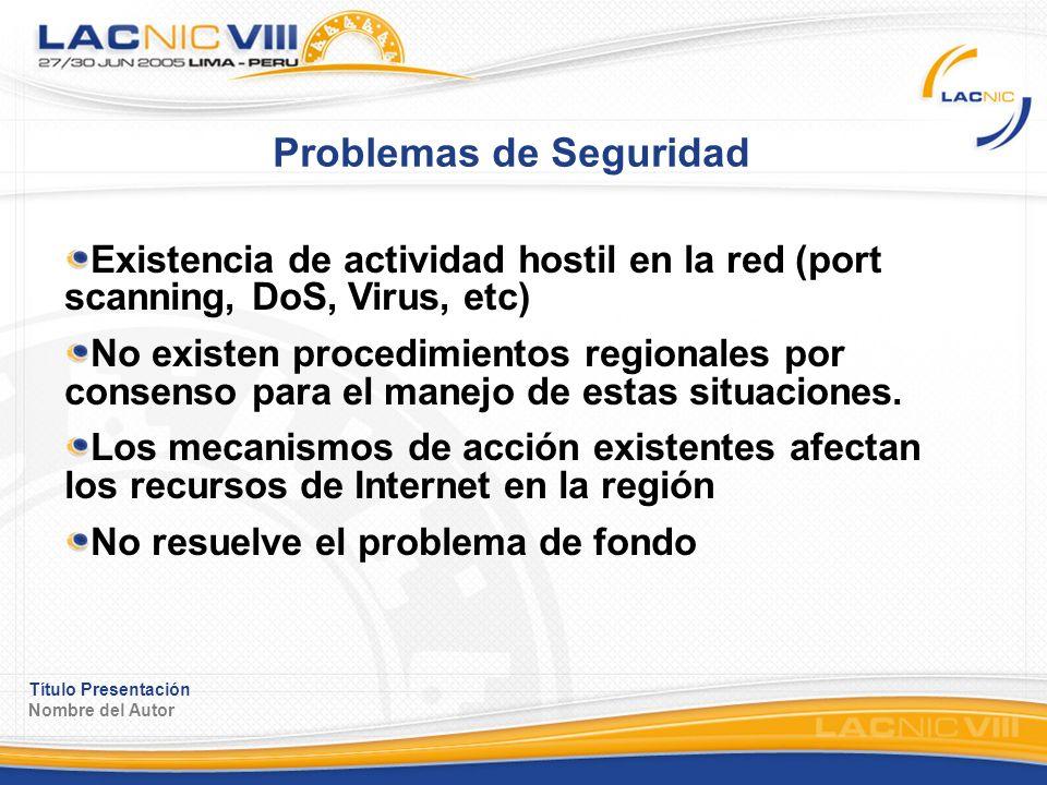 Título Presentación Nombre del Autor Problemas de Seguridad Existencia de actividad hostil en la red (port scanning, DoS, Virus, etc) No existen procedimientos regionales por consenso para el manejo de estas situaciones.