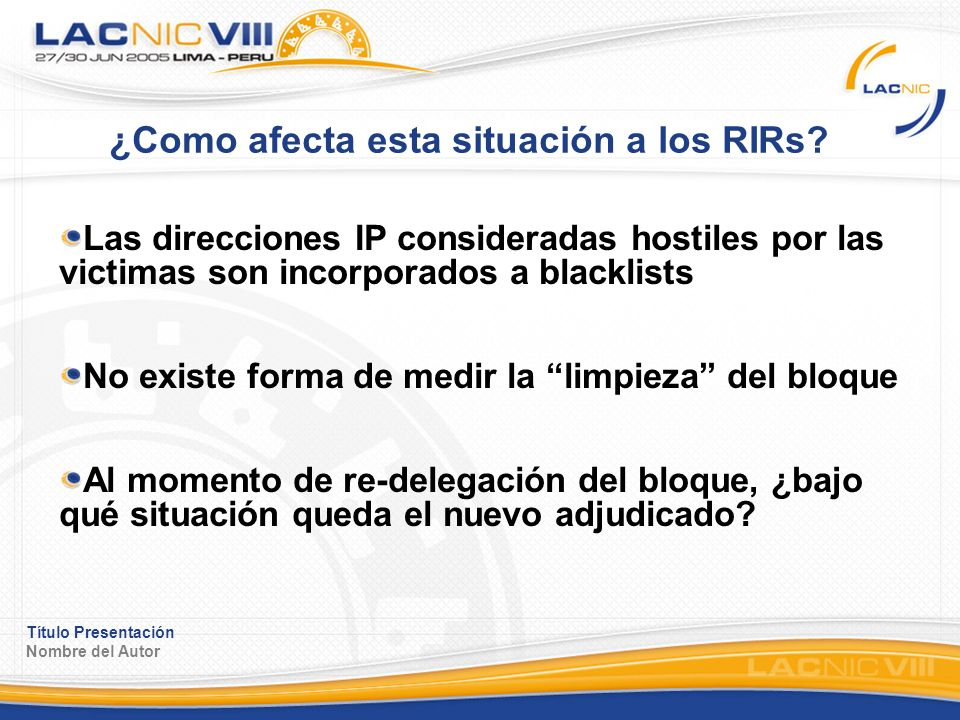 Título Presentación Nombre del Autor ¿Como afecta esta situación a los RIRs.