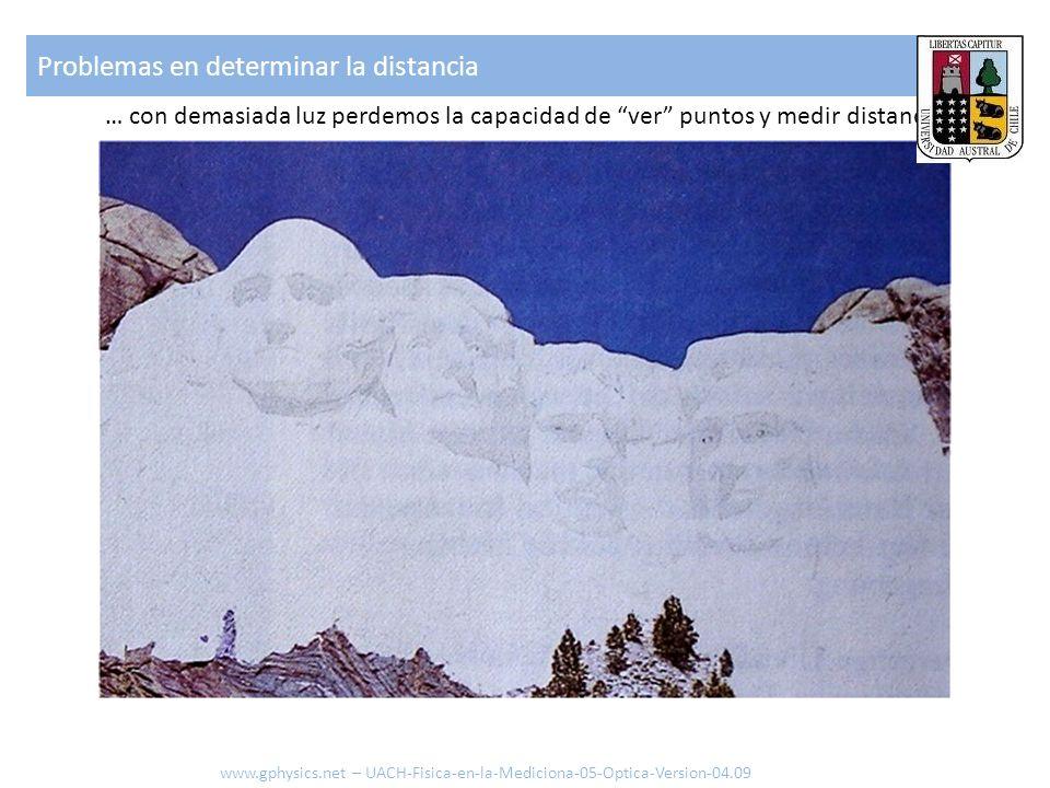 … con demasiada luz perdemos la capacidad de ver puntos y medir distancias Problemas en determinar la distancia www.gphysics.net – UACH-Fisica-en-la-M
