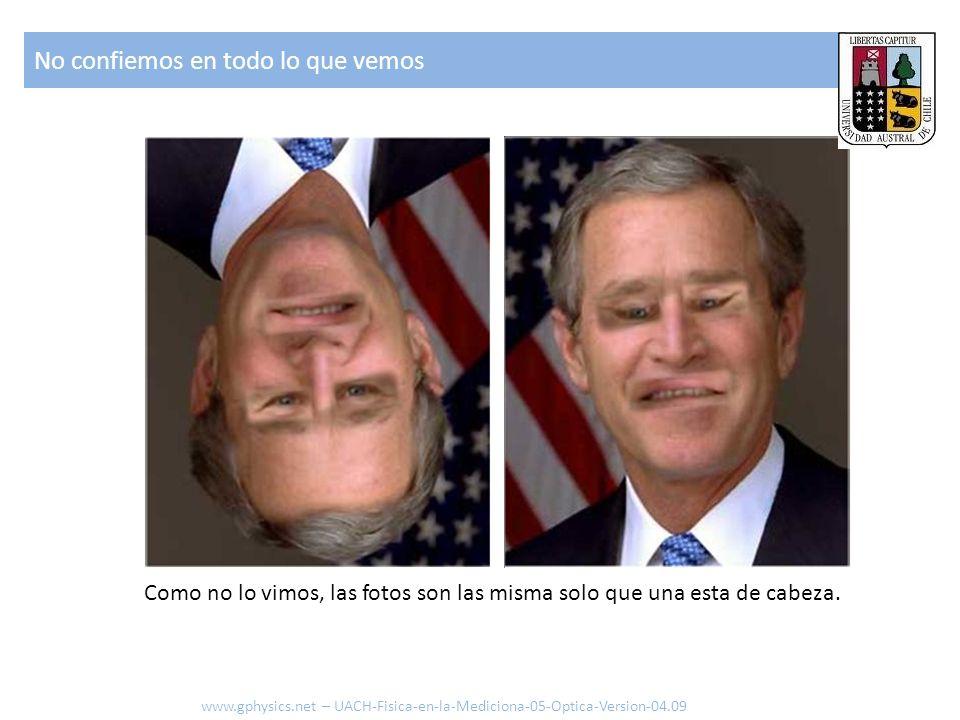No confiemos en todo lo que vemos Como no lo vimos, las fotos son las misma solo que una esta de cabeza. www.gphysics.net – UACH-Fisica-en-la-Medicion