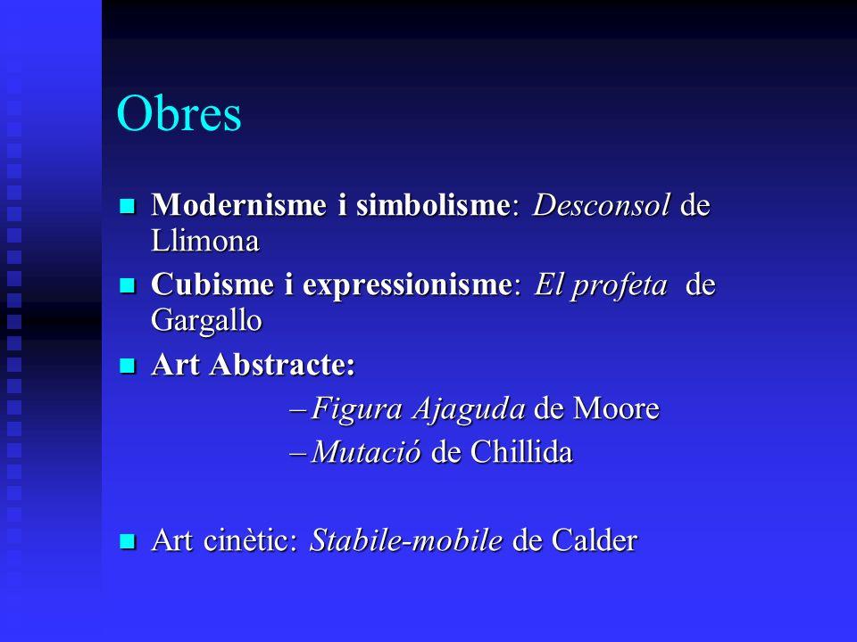 Obres Modernisme i simbolisme: Desconsol de Llimona Modernisme i simbolisme: Desconsol de Llimona Cubisme i expressionisme: El profeta de Gargallo Cub