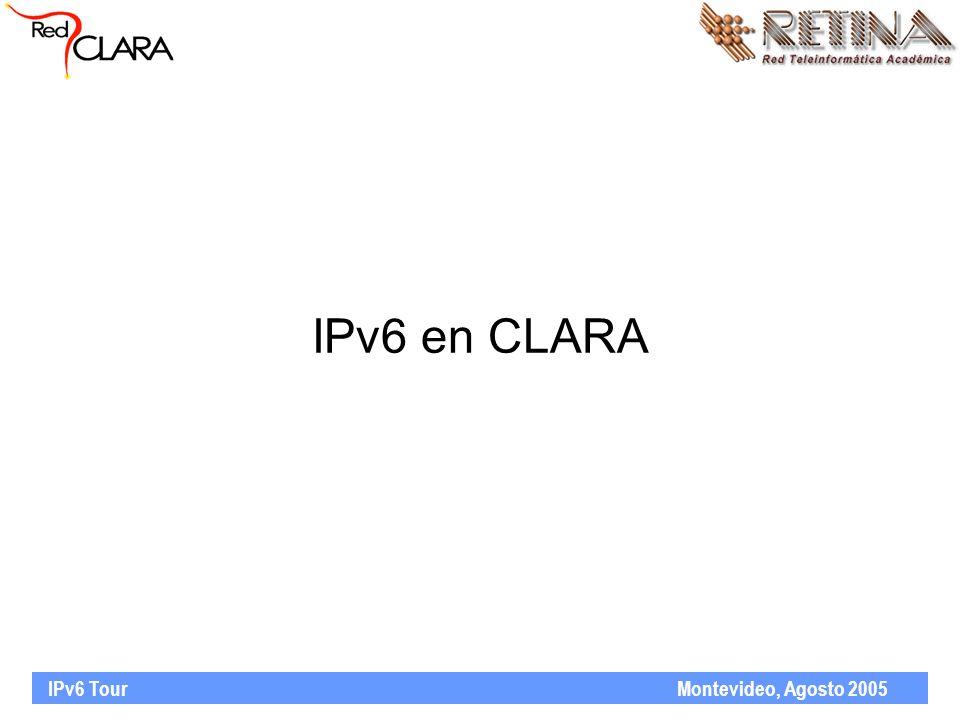 IPv6 Tour Montevideo, Agosto 2005 IPv6 en CLARA