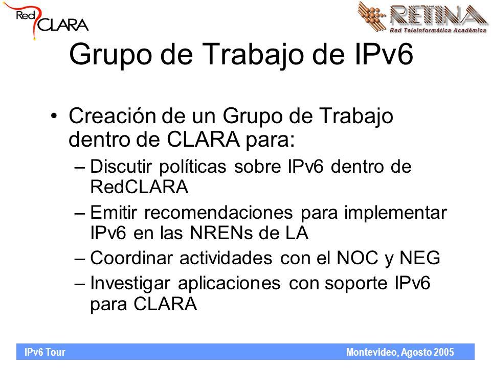 IPv6 Tour Montevideo, Agosto 2005 Grupo de Trabajo de IPv6 Creación de un Grupo de Trabajo dentro de CLARA para: –Discutir políticas sobre IPv6 dentro de RedCLARA –Emitir recomendaciones para implementar IPv6 en las NRENs de LA –Coordinar actividades con el NOC y NEG –Investigar aplicaciones con soporte IPv6 para CLARA