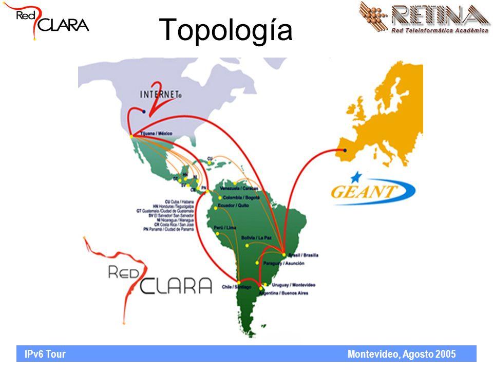 IPv6 Tour Montevideo, Agosto 2005 Topología