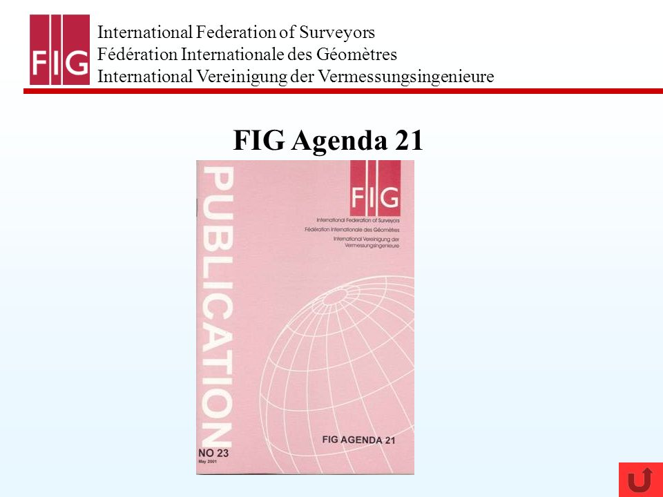 International Federation of Surveyors Fédération Internationale des Géomètres International Vereinigung der Vermessungsingenieure FIG Agenda 21