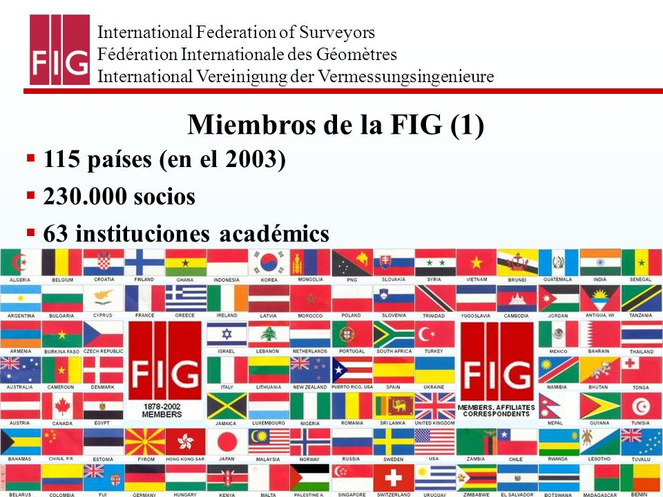 International Federation of Surveyors Fédération Internationale des Géomètres International Vereinigung der Vermessungsingenieure Miembros de la FIG (