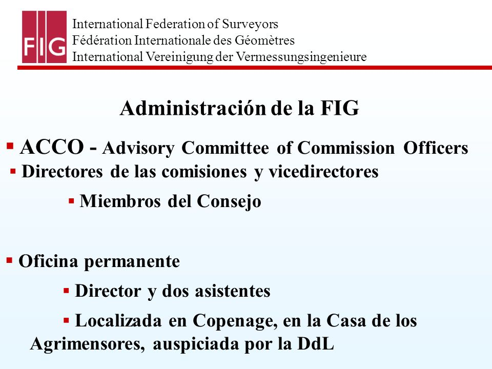 International Federation of Surveyors Fédération Internationale des Géomètres International Vereinigung der Vermessungsingenieure Administración de la