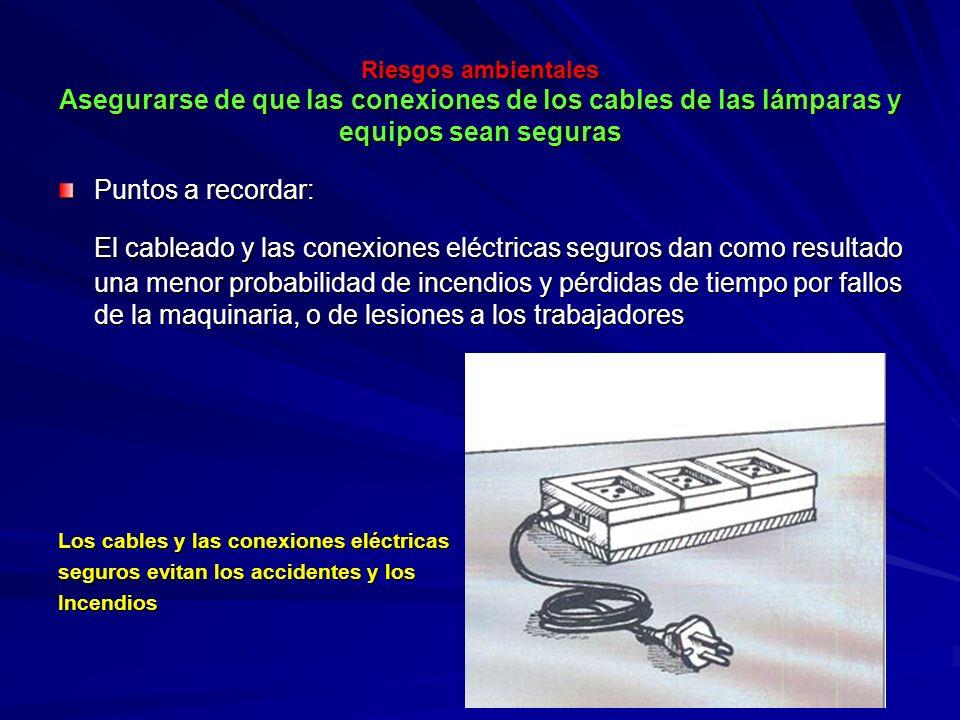 Riesgos ambientales Asegurarse de que las conexiones de los cables de las lámparas y equipos sean seguras Riesgos ambientales Asegurarse de que las co