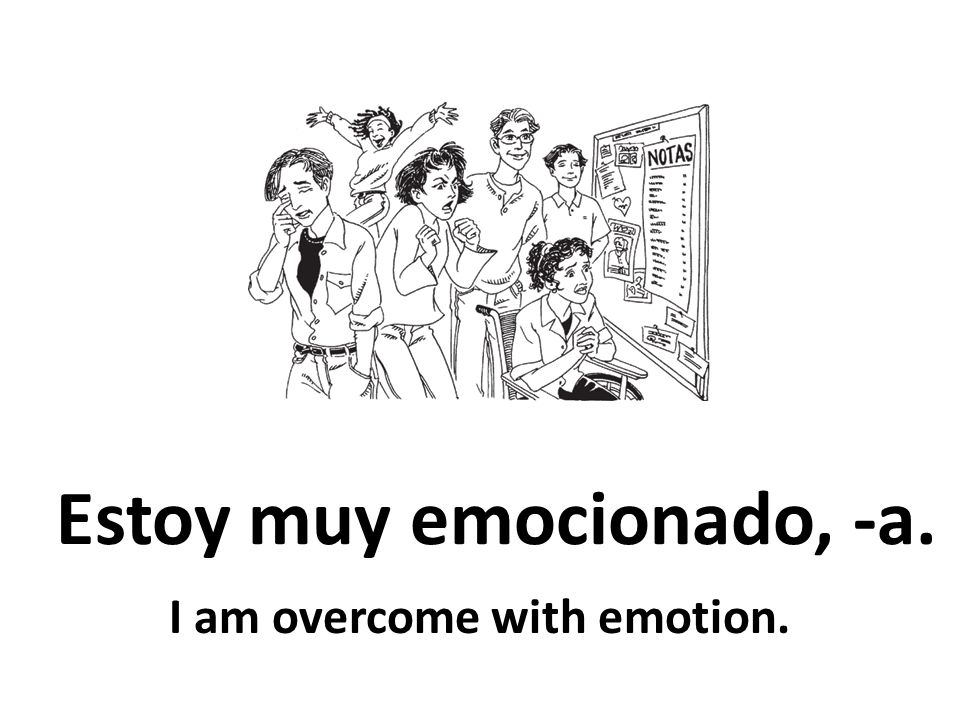 Estoy muy emocionado, -a. I am overcome with emotion.