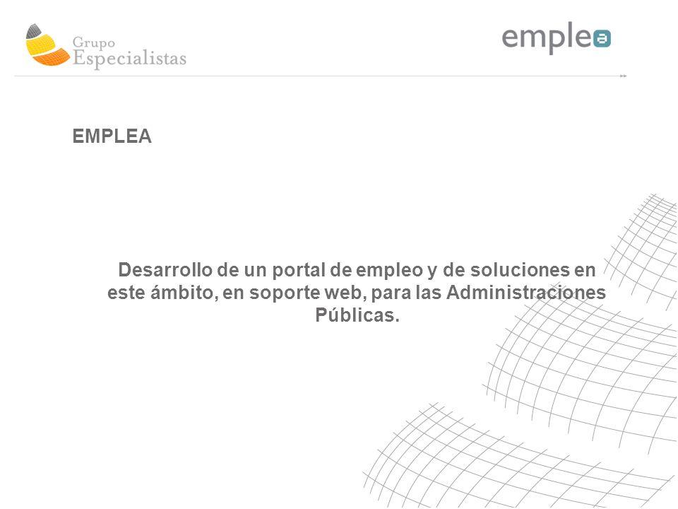 Desarrollo de un portal de empleo y de soluciones en este ámbito, en soporte web, para las Administraciones Públicas.