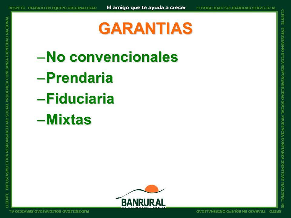 GARANTIAS –No convencionales –Prendaria –Fiduciaria –Mixtas