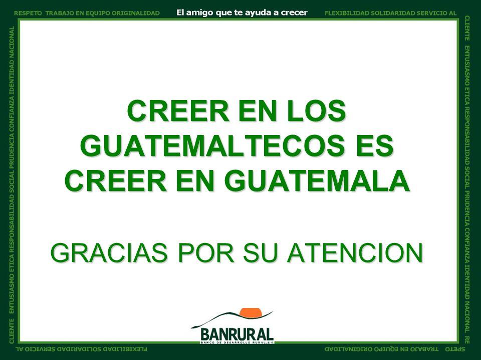 CREER EN LOS GUATEMALTECOS ES CREER EN GUATEMALA GRACIAS POR SU ATENCION