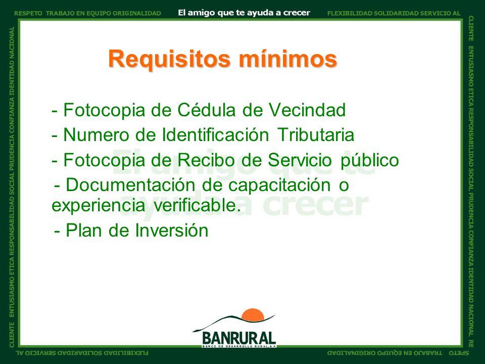 - Fotocopia de Cédula de Vecindad - Numero de Identificación Tributaria - Fotocopia de Recibo de Servicio público - Documentación de capacitación o experiencia verificable.